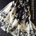 Quality Skull Scarves Wrap Women Winter Warm Cashmere 140*140CM - White