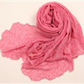 Ruffle Embroidered Beaded Scarves Wrap Women Winter Warm Silk Panties 160*50CM - Dark Pink