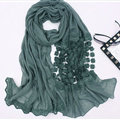 Unique Floral Lace Scarf Shawls Women Winter Warm Chiffon Solid 200*70CM - Dark Green