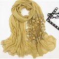 Unique Floral Lace Scarf Shawls Women Winter Warm Chiffon Solid 200*70CM - Yellow