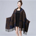 Unique Fringed Skull Scarf Shawls Women Winter Warm Wool Panties 200*65CM - Brown