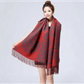 Unique Fringed Skull Scarf Shawls Women Winter Warm Wool Panties 200*65CM - Red