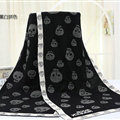 Unique Skull Scarf Shawls Women Winter Warm Wool Panties 180*70CM - Black
