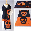 Unique Skull Scarf Shawls Women Winter Warm Wool Panties 200*30CM - Blue