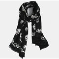 Unique Skull Scarf Shawls Women Winter Warm Wool Panties 200*70CM - Black