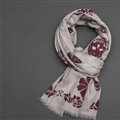 Unique Skull Scarf Shawls Women Winter Warm Wool Panties 200*70CM - Grey