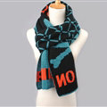 Vintage Plaid Skull Scarves Wrap Women Winter Warm Polyester 200*33CM - Black Blue