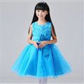 Cheap Dresses Fall Flower Girls Bowknot Rose Wedding Party Dress - Blue