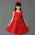 Cheap Dresses Fall Flower Girls Bowknot Rose Wedding Party Dress - Red