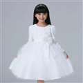 Cheap Dresses Fall Flower Girls Bowknot Rose Wedding Party Dress - White