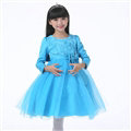 Cheap Dresses Fall Flower Girls Long Sleeve Bowknot Rose Wedding Party Dress - Blue
