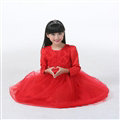 Cheap Dresses Fall Flower Girls Long Sleeve Bowknot Rose Wedding Party Dress - Red