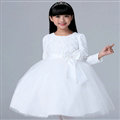 Cheap Dresses Fall Flower Girls Long Sleeve Bowknot Rose Wedding Party Dress - White