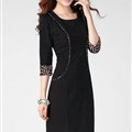 Classy Dresses Fall Women Three-Quarter Sleeve Leopard Print Plus Size - Black