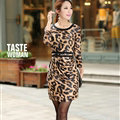 Classy Dresses Fall Women Three-Quarter Sleeve Leopard Print Tunic - Brown