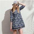 Classy Dresses Fall Women Three-Quarter Sleeve Leopard Print Zipper - Blue