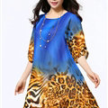 Classy Dresses Summer Female Skirts Leopard Print Plus Size Lantern Sleeve - Royal Blue