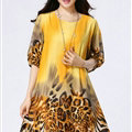 Classy Dresses Summer Female Skirts Leopard Print Plus Size Lantern Sleeve - Yellow