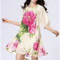 Classy Dresses Summer Female Skirts Printed Plus Size Lantern Sleeve - Beige