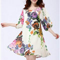 Classy Dresses Summer Female Skirts Printed Plus Size Lantern Sleeve - White