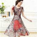 Classy Dresses Summer Women Skirts Leopard Print Knee Length - Red