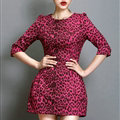 Classy Dresses Winter Ladies Short Skirts Leopard Print Five Sleeved - Rose
