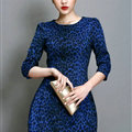 Classy Dresses Winter Ladies Short Skirts Leopard Print Five Sleeved - Royal Blue