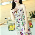 Cute Dresses Summer Girls Sleeveless Bird Short Sundresses - White