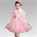Cute Dresses Winter Flower Girls Bowknot Embroidery Wedding Party Dress - Pink