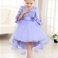 Cute Dresses Winter Flower Girls Bowknot Solid Wedding Party Dress - Purple