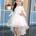 Cute Dresses Winter Flower Girls Bowknot Solid Wedding Party Dress - White