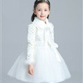 Cute Dresses Winter Flower Girls Bowknot Velvlet Wedding Party Dress - White
