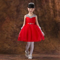 Cute Dresses Winter Flower Girls Chiffon Knee Length Bowknot Wedding Party Dress - Red