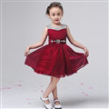 Cute Dresses Winter Flower Girls Chiffon Knee Length Bowknot Wedding Party Dress - Wine Red