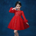 Cute Dresses Winter Flower Girls Diamond Cotton Wedding Party Dress - Red