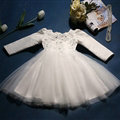 Cute Dresses Winter Flower Girls Diamond Cotton Wedding Party Dress - White