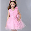 Cute Dresses Winter Flower Girls Diamonds Knee Length Bowknot Wedding Party Dress - Pink