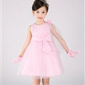 Cute Dresses Winter Flower Girls Knee Length Bowknot Wedding Party Dress - Pink