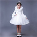 Cute Dresses Winter Flower Girls Lace Cotton Velvlet Wedding Party Dress - White