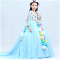 Cute Dresses Winter Flower Girls Long Embroidery Cotton Wedding Party Dress - Blue