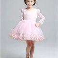 Cute Dresses Winter Flower Girls Long Sleeve Bow Velvlet Wedding Party Dress - Pink