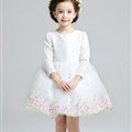 Cute Dresses Winter Flower Girls Long Sleeve Bow Velvlet Wedding Party Dress - White
