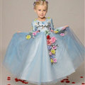 Cute Dresses Winter Flower Girls Long Sleeve Embroidery Wedding Party Dress - Blue