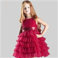 Cute Dresses Winter Flower Girls Ruffled Bowknot Wedding Party Dress - Red