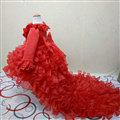 Cute Dresses Winter Flower Girls Ruffled Floor Length Wedding Party Dress - Red