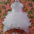 Cute Dresses Winter Flower Girls Ruffled Floor Length Wedding Party Dress - White