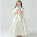 Cute Dresses Winter Flower Girls Shawl Bowknot Wedding Party Dress - White