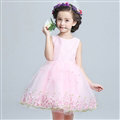 Cute Dresses Winter Flower Girls Sleeveless Bow Velvlet Wedding Party Dress - Pink