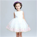 Cute Dresses Winter Flower Girls Sleeveless Bow Velvlet Wedding Party Dress - White