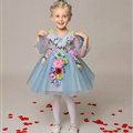 Cute Dresses Winter Flower Girls Sleeveless Embroidery Wedding Party Dress - Blue